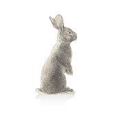Rabbit Illustration In Stipple Effect. An original artwork vector illustration of wild rabbit in stipple effect. This inspirational design can be a postcard, web banner, shop window, invitation, poster or flyer.