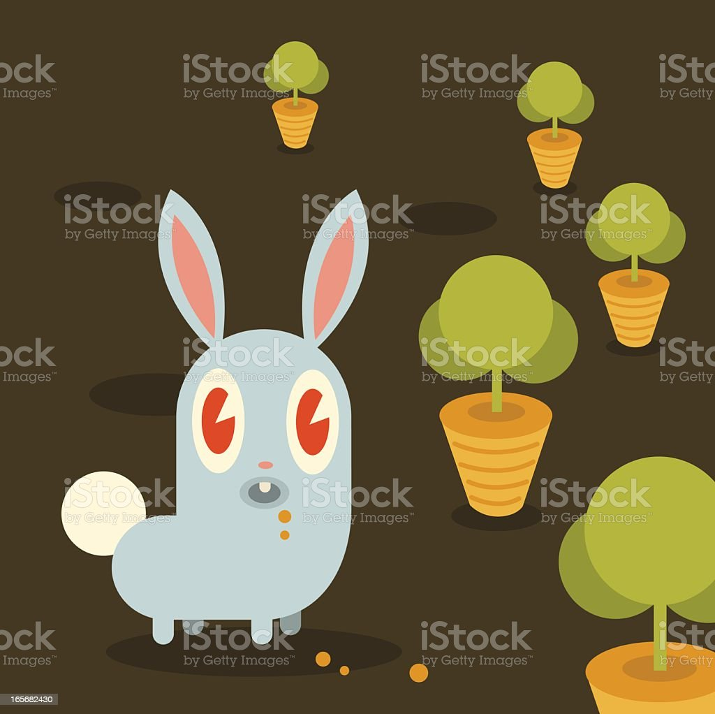 Rabbit in a Carrot Patch vector art illustration