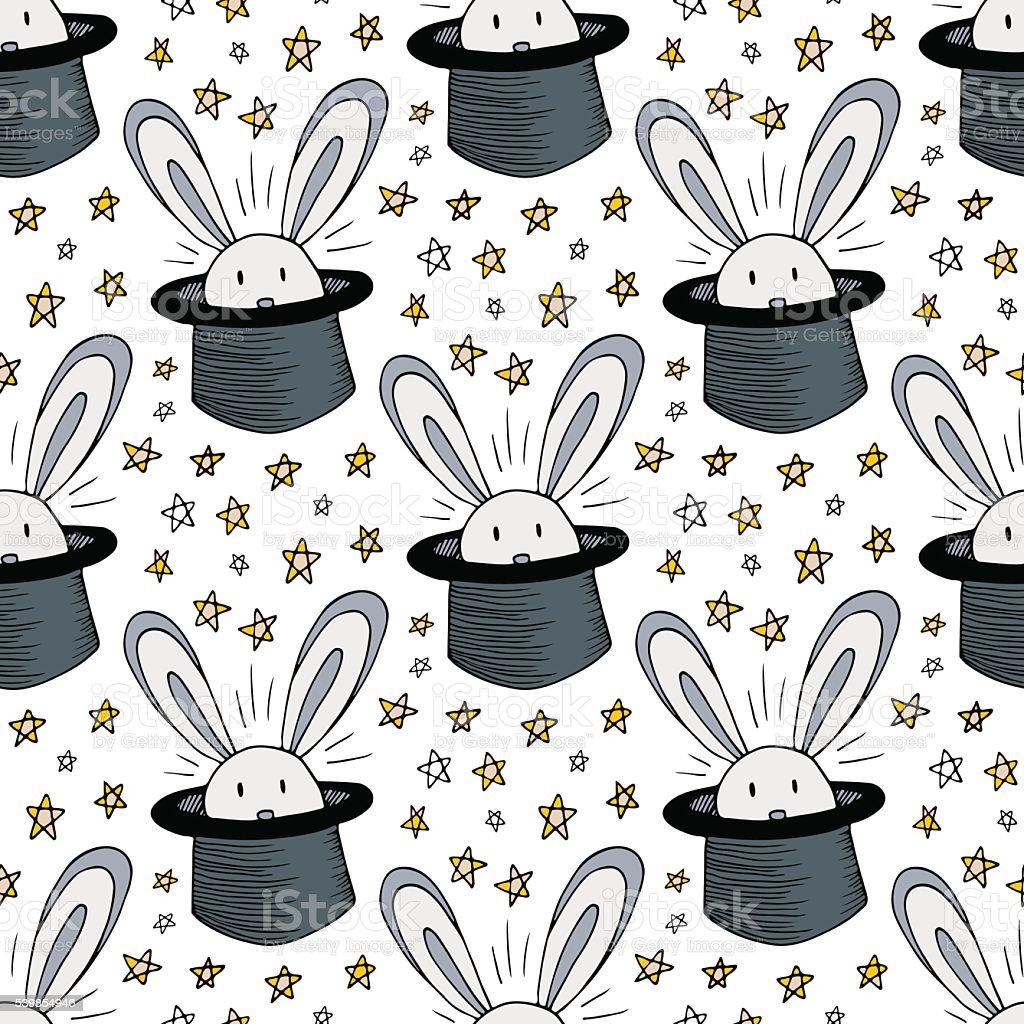 Ilustración de Conejo En Sombrero Patrón Vector De Fondo Sin ...