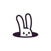 Simple, minimalistic rabbit hole logo. Cute cartoon bunny vector illustration.