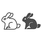 Rabbit line and solid icon. Sitting forest animal, simple silhouette. Animals vector design concept, outline style pictogram on white background, use for web and app. Eps 10