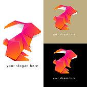 rabbit origami logo flat design