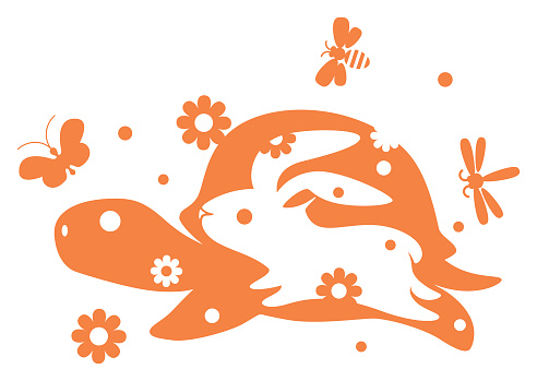 rabbit racing with tortoise symbol