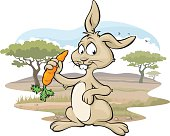 Vector illustration of a cute rabbit holding a carrot amongst nature. Carrot, rabbit and background on separate layers.