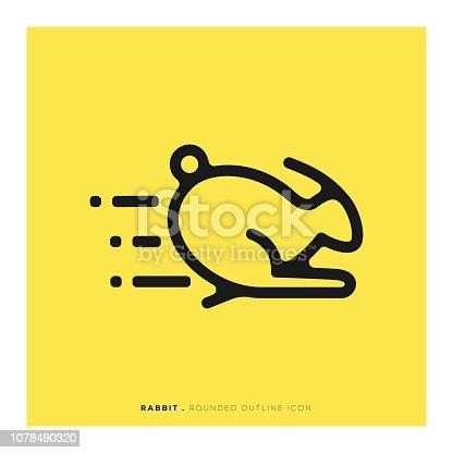 Rabbit Rounded Line Icon
