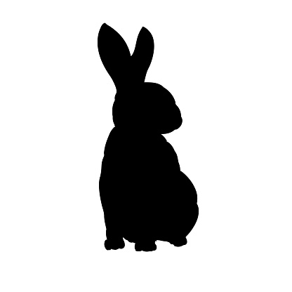 Rabbit silhouette hand drawn vector isolated image