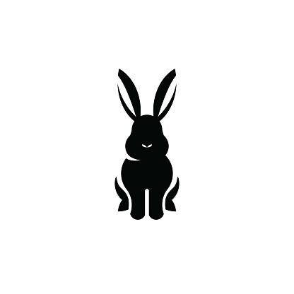 Rabbit sitting icon isolated on white background