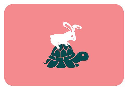 rabbit sitting on tortoise symbol