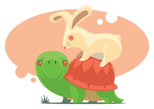 rabbit sitting on tortoise