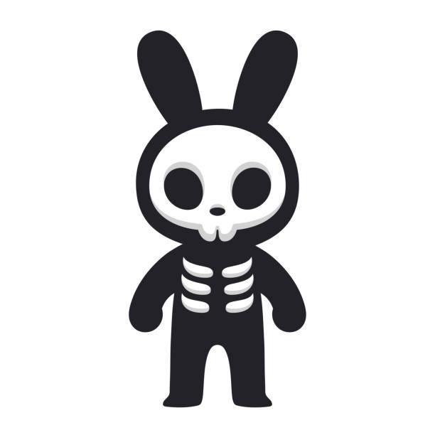 rabbit skeleton character - animal skeleton stock illustrations