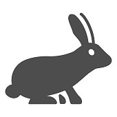 Rabbit solid icon, animals concept, hare sign on white background, bunny silhouette icon in glyph style for mobile concept and web design. Vector graphics