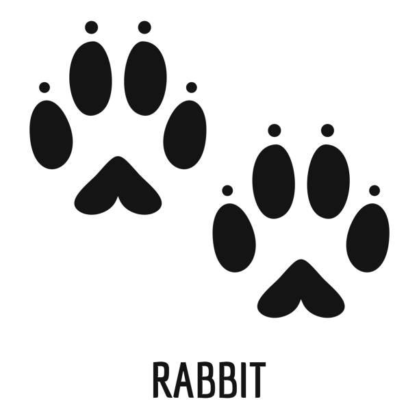 kaninchen schrittsymbol, einfachen stil - kaninchen stock-grafiken, -clipart, -cartoons und -symbole