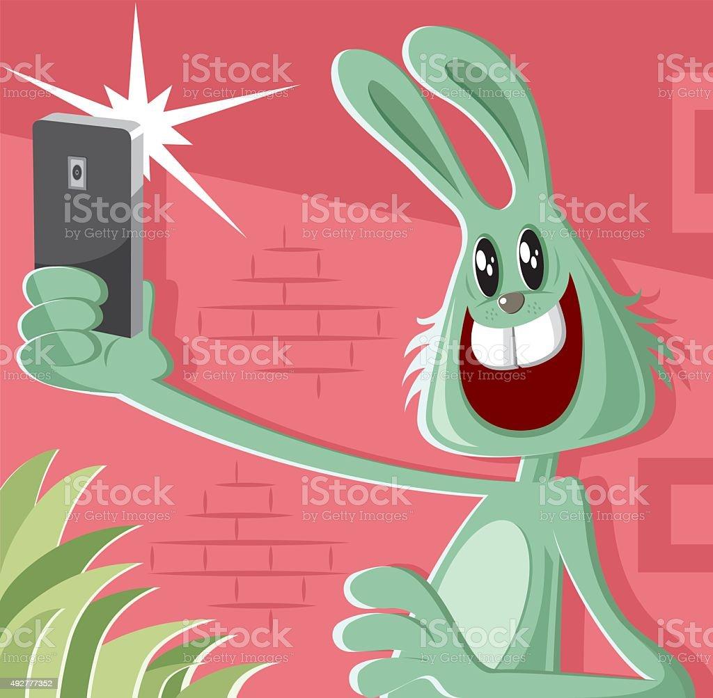 rabbit taking a selfie vector art illustration
