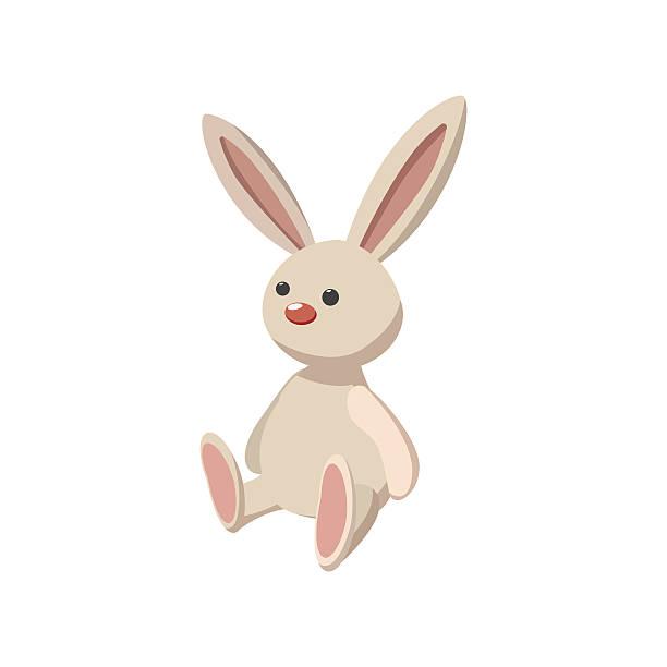 rabbit toy cartoon icon - pelzmäntel stock-grafiken, -clipart, -cartoons und -symbole