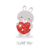 Rabbit illustration. Rabbit with heart. Valentine's Day.