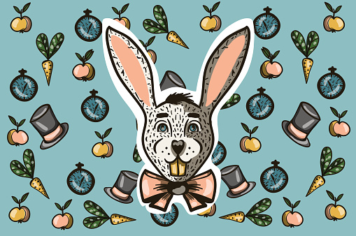 rabbit with a bow on a blue background