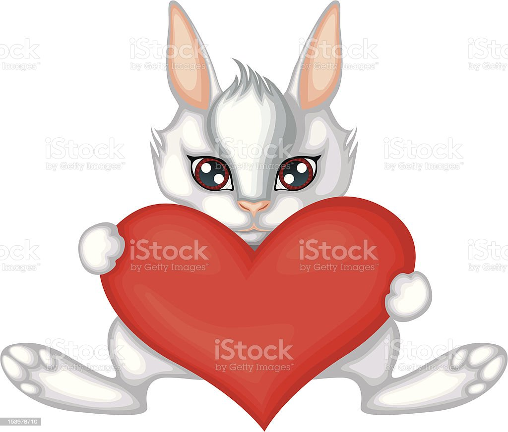 rabbit with a heart royalty-free stock vector art