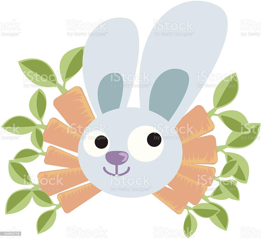 Rabbits and carrots royalty-free stock vector art