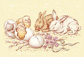 The vector drawing of  easter chickens and rabbits.