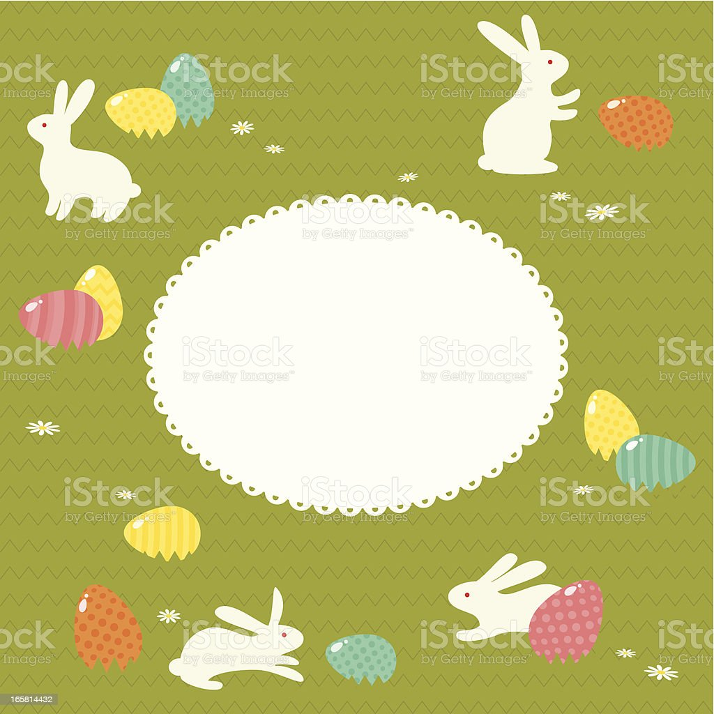 Rabbits and Easter eggs royalty-free stock vector art