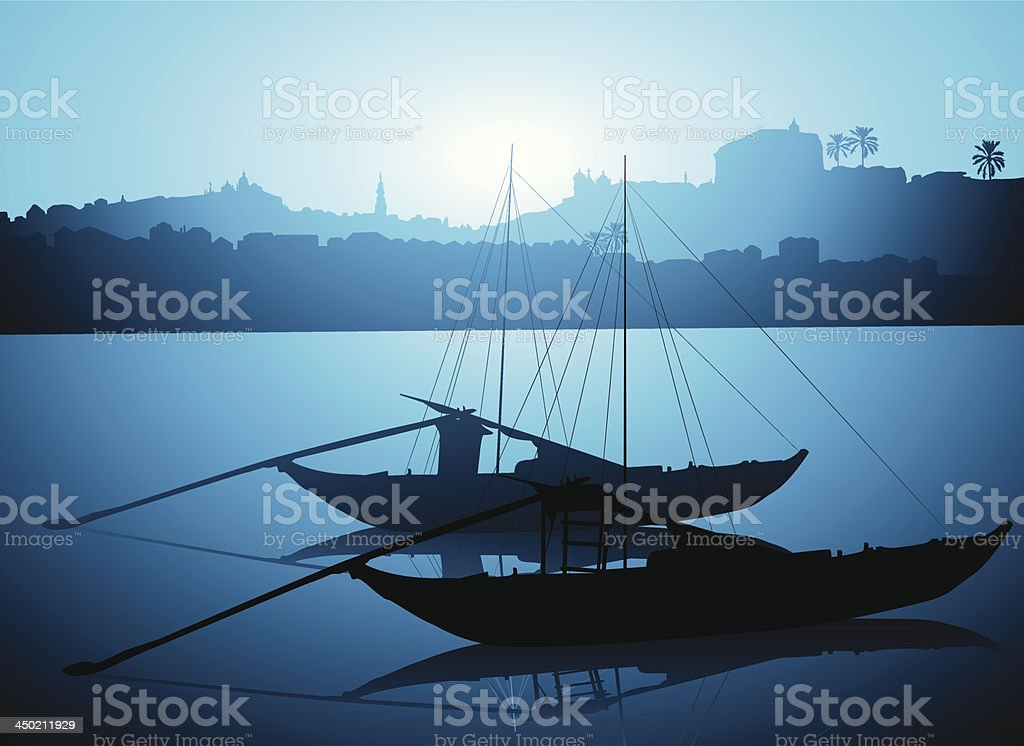 Rabelo boats in Porto royalty-free stock vector art