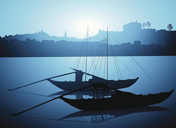 ilustrações de stock, clip art, desenhos animados e ícones de rabelo barcos no porto - douro
