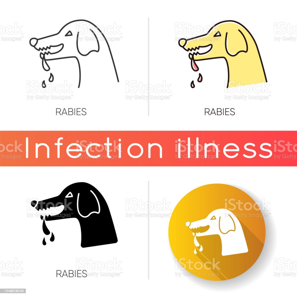 Rabies Icon Linear Black And Rgb Color Styles Dangerous Viral Disease Central Nervous System Infection Rabid Dog Angry Animal Aggressive Pathogen Carrier Isolated Vector Illustrations Stock Illustration Download Image Now Istock