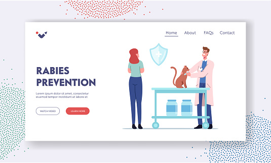 Rabies Prevention Landing Page Template. Cat Sit on Table of Veterinary Clinic. Veterinarian Doctor Put Injection