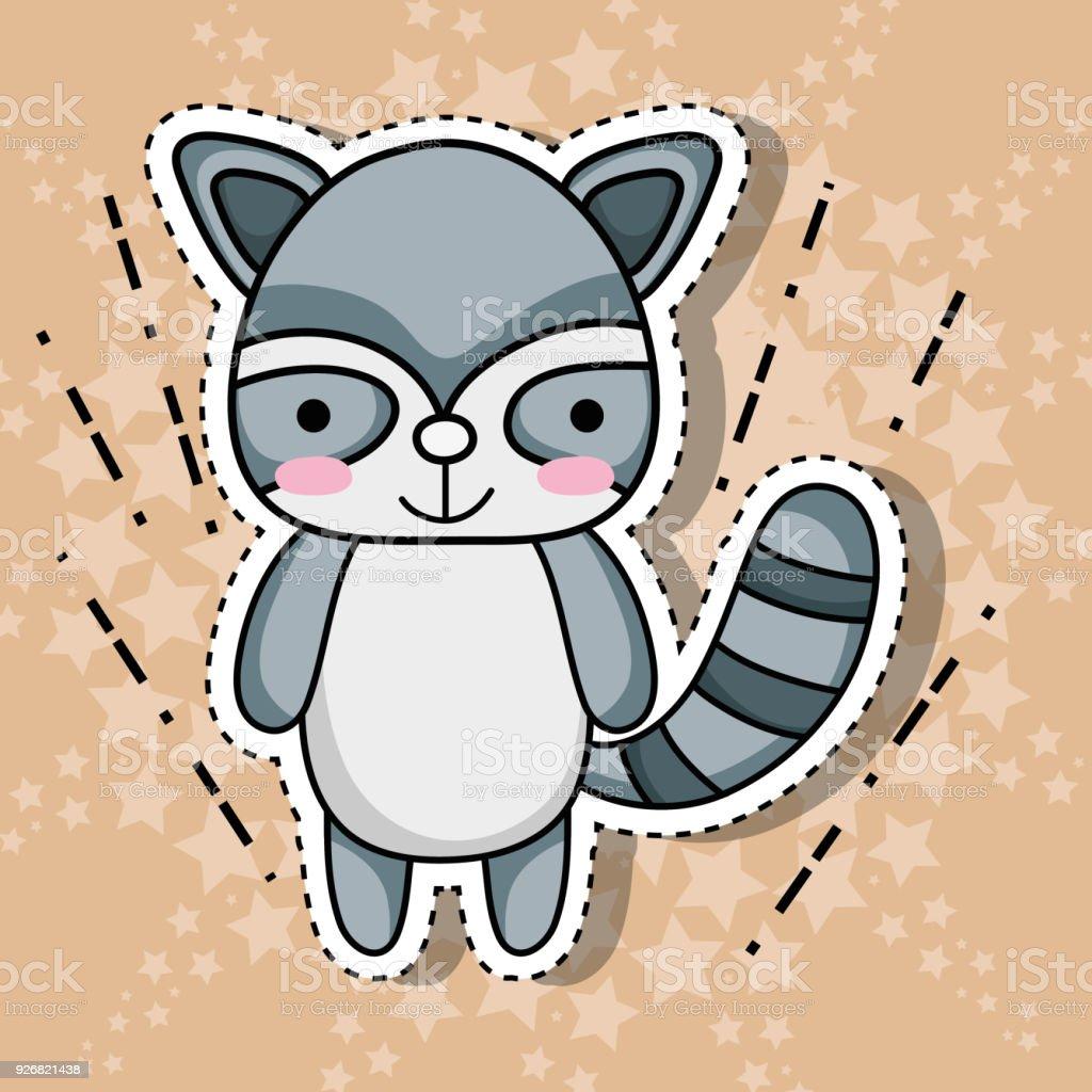 raccoon animal patch sticker design векторная иллюстрация