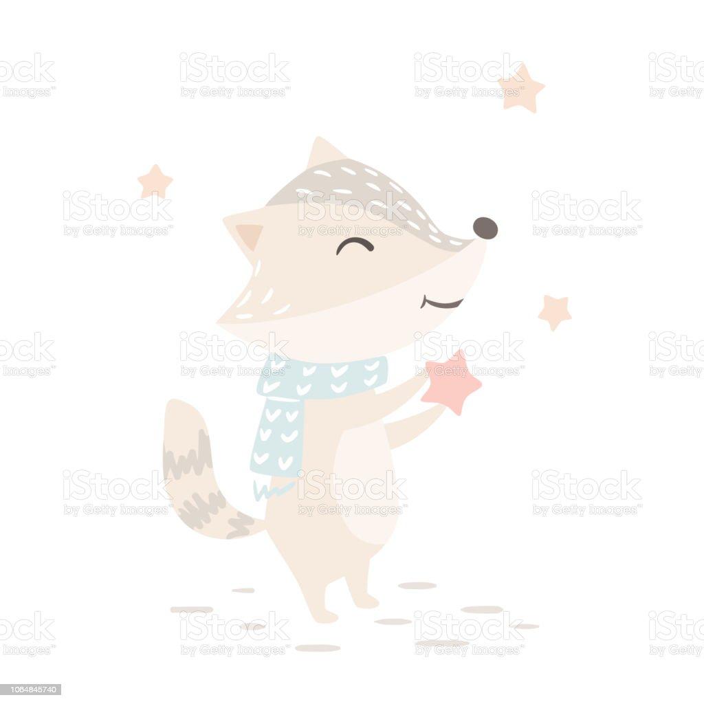 Raccoon Baby Winter Print Cute Animal In Warm Scarf Christmas Card ...