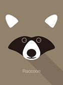 istock raccoon cartoon face, flat animal face icon vector 1135908423