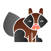 Raccoon flat icon. Sitting forest animal silhouette. Animals vector design concept, gradient style pictogram on white background, graphic for web or app