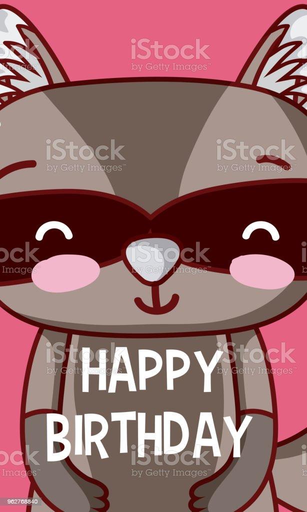 Raccoon happy birthday card - arte vettoriale royalty-free di Amore
