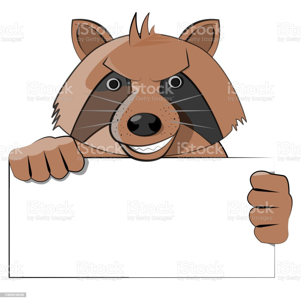 Raccoon Holding Blank Sign Stock Illustration Download