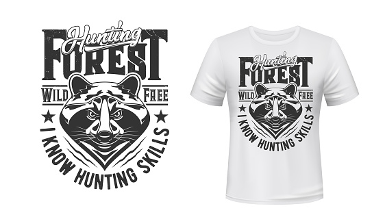 Raccoon hunt t-shirt print mockup hunting club