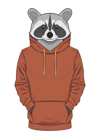 Raccoon in a brown sweatshirt or hoodie