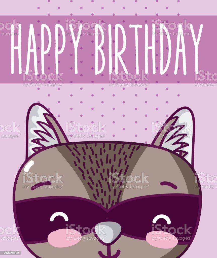 raccoon in cute happy birthday card - arte vettoriale royalty-free di Amore