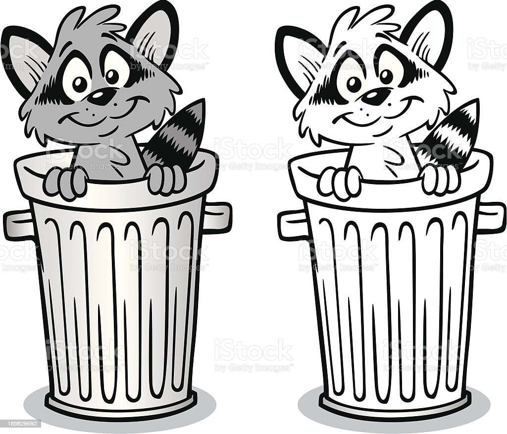 Raccoon In Trash Can royalty-free raccoon in trash can stock vector art & more images of animal