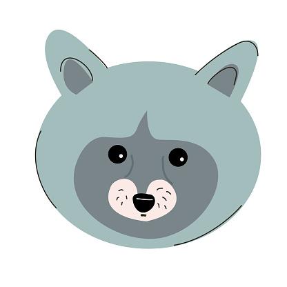 Raccoon muzzle illustration for children.