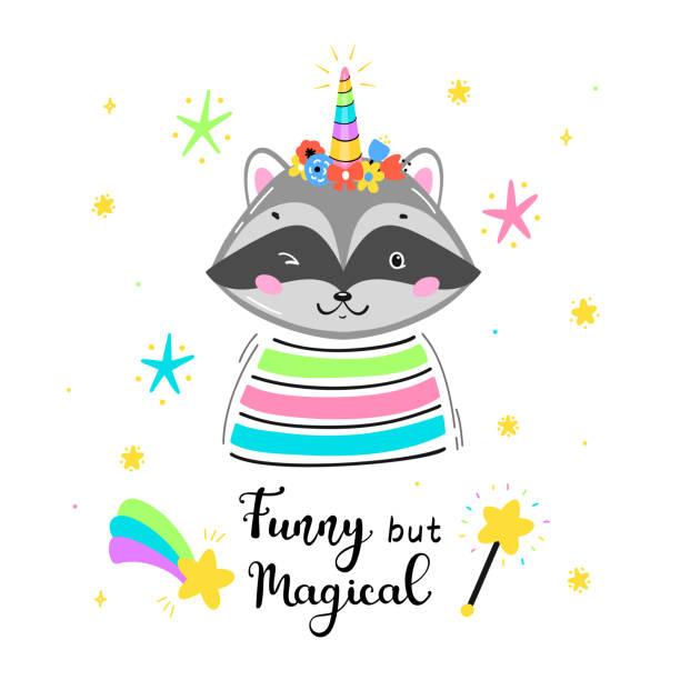 アラクーニコーンフラワーホーンと「おかしいが魔法」引用ベクトルイラストと魔法かわいいユニコーンアライグマ。かわいい動物tシャツプリント、ベビーシャワーカード、託児ポスター、 - 花のボーダー点のイラスト素材/クリップアート素材/マンガ素材/アイコン素材