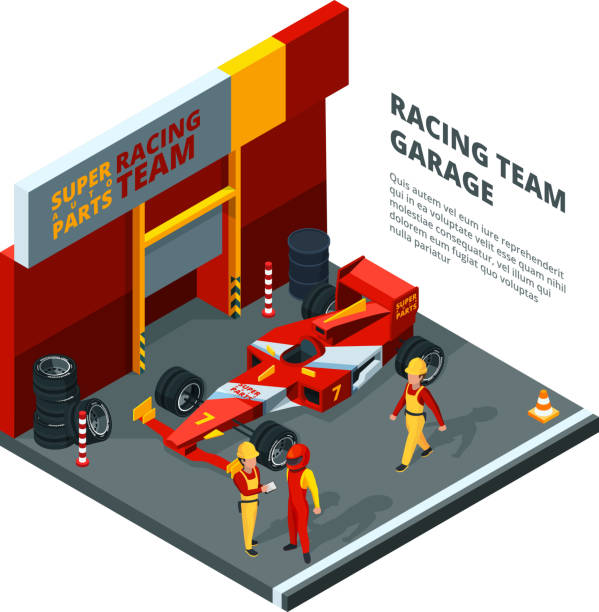 race car at station. isometric composition isolate on white - formula 1 stock illustrations