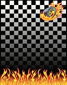 "Race Car Checkered Flag Background is set up for an 8.5"" x 11"" plus bleed. Layered and grouped for easy color edits. Scale to any size. Check out my ""Hot Rod Harry"" light box for more."