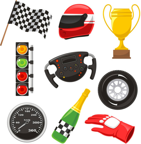 F1 race car icons helmet flag speedometer gloves champagne F1 race car icons, with race helmet, f1 flag,  f1 speedometer, f1 gloves, f1 champagne, f1 steering wheel, f1 wheel. Vector illustration cartoon. indy racing league indycar series stock illustrations