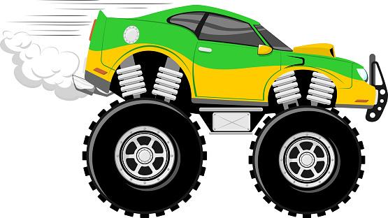 Race Car Monstertruck Cartoon Stock Illustration Download Image Now Istock
