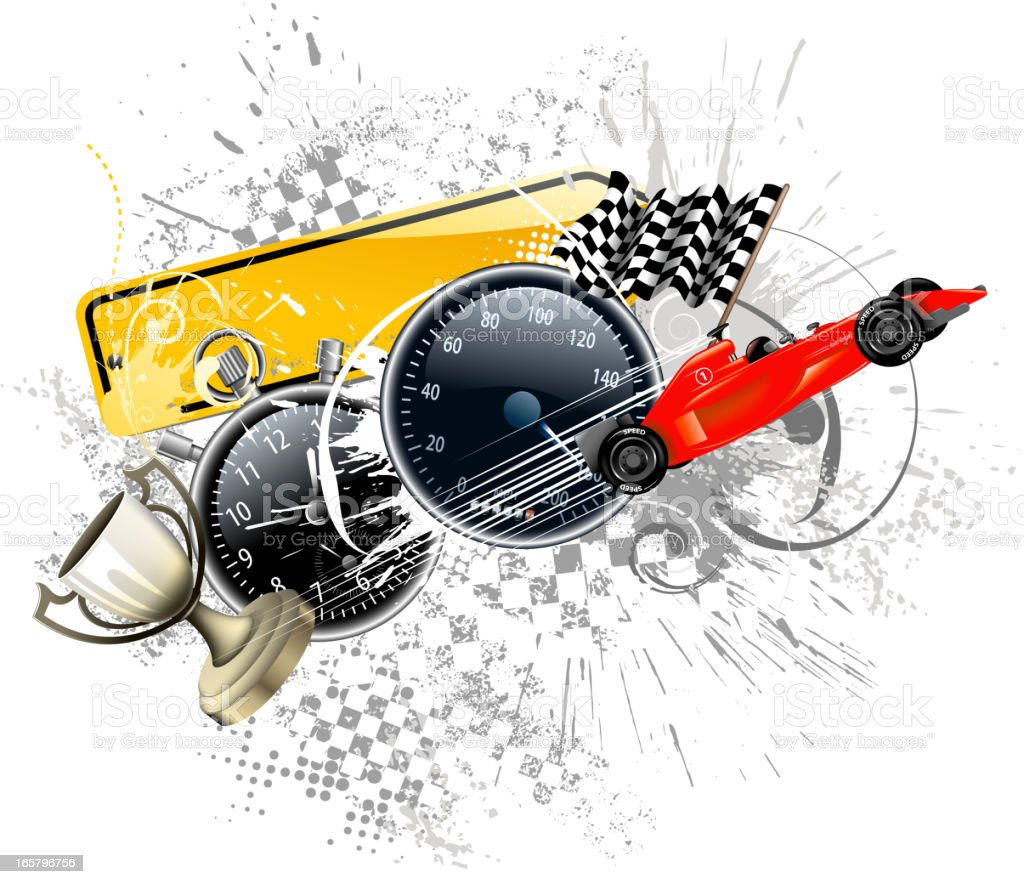 Race car-themed illustration background with checkered flags royalty-free stock vector art