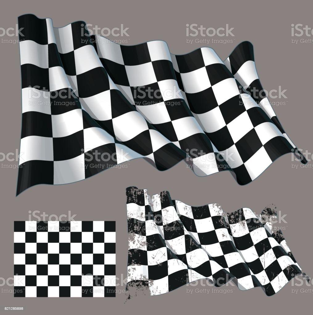 Race Checkered Finish Waving Flag vector art illustration