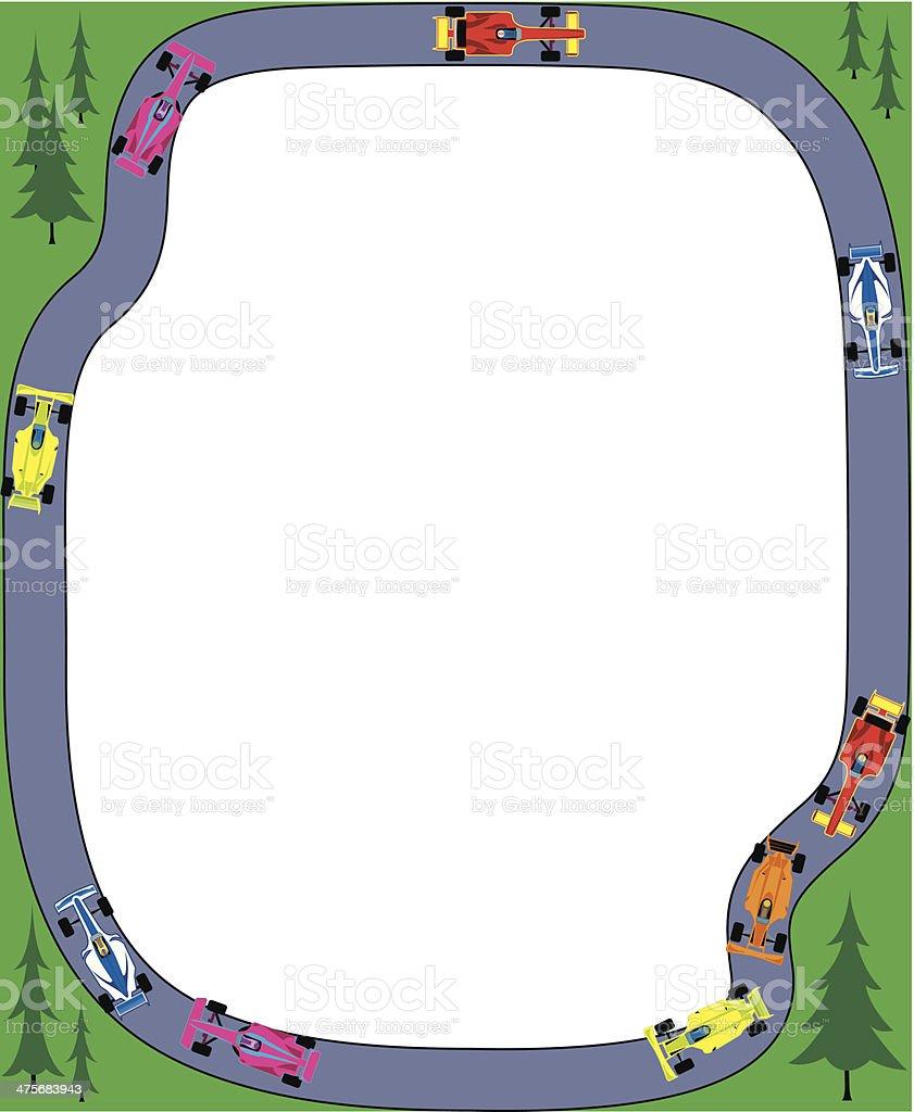 Race Course Cars Frame C vector art illustration