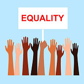 Race equality, tolerance. Vector illustration of a people's hands with different skin color together. Stop racism, equality banner