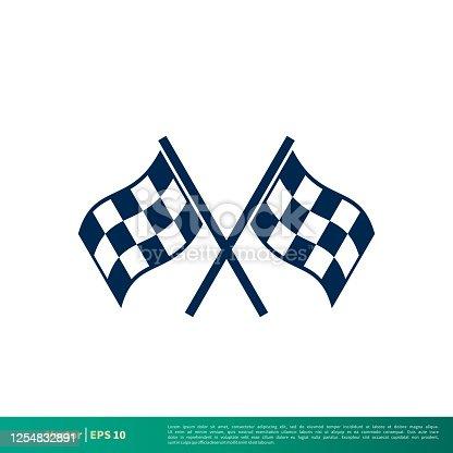 istock Race Flag Icon Vector Logo Template Illustration Design. Vector EPS 10. 1254832891