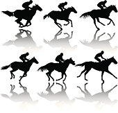 Various race horse silhouettes.
